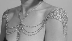 Necklace For The SHOULDERS, 1920s Inspiration, Beaded Pearls And Rhinestone,Jazz Age,Antique CHIC Gold, OOAK Bridal Wedding Jewelry