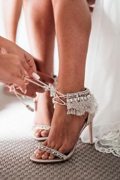 30 Officially The Most Gorgeous Bridal Shoes ❤️ gorgeous bridal shoes boho with heels badgleymischka When you have already picked the right dress a new important issue comes up – wedding shoes. Check out our listing of the best bridal shoes! Botas Boho, Best Bridal Shoes, Bridal Sandals, Wedding Heels, Wedding Bride, Wedding Dresses, Wedding Sneakers, Boho Wedding Shoes, White Wedding Shoes