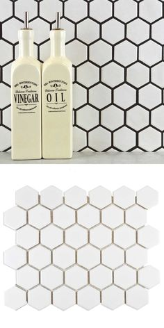 Made from durable porcelain, these Matt Hexagon White Mosaic Tiles can be used on a wall or floor space. Bring the hexagonal trend into your bathroom or kitchen. Hexagon Mosaic Tile, White Mosaic Tiles, White Wall Tiles, Wall And Floor Tiles, Wall Tile Adhesive, Tiles Price, Kitchen Walls, Splashback, Floor Space