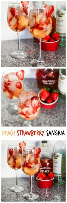 Nadire Atas on Exquisite Cocktails Peach Strawberry Sangria - Perfect summer drink! Cocktail Drinks, Cocktail Recipes, Alcoholic Drinks, Drinks Alcohol, Bourbon Drinks, Sweet Cocktails, Cocktail Desserts, Party Drinks, Refreshing Drinks