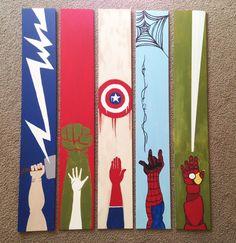 Avenger Panel Wall Art with Thor Hulk IronMan by LesLeaEllison