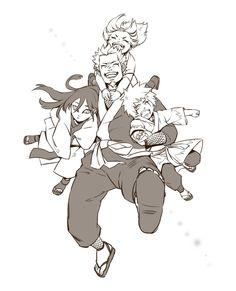 Team Hiruzen, Tsunade, Jiraiya, Orohimaru and Hiruzen
