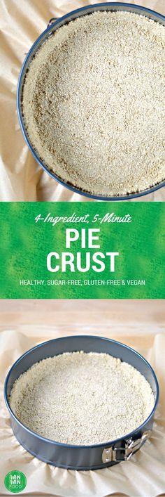 4-Ingredient, 5-Minute, #Healthy, #GlutenFree & #Vegan Pie Crust | WIN-WINFOOD.com