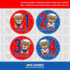 Cute SAILOR BEARS Printable Monthly Stickers or Iron On Transfers - Do It Yourself  - PDF Files - LS232