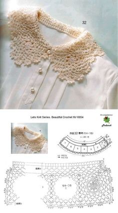 Crochet Collar with diagramatic pattern Crochet Collar Pattern, Col Crochet, Crochet Lace Collar, Crochet Lace Edging, Irish Crochet, Crochet Chart, Crochet Toddler Dress, Crochet Clothes, Crochet Designs