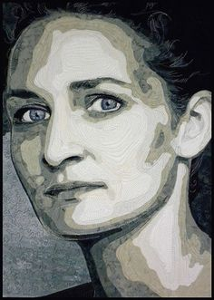 Kate Themel, Artist - Gallery look closely at how the face is quilted. LOVE the blue eyes! Thread Painting, Thread Art, Patchwork Quilting, Photo Quilts, Landscape Art Quilts, Contemporary Quilts, Artist Gallery, Realism Art, Portrait Art
