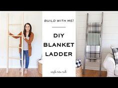 How to easily make a blanket ladder! This $15 DIY blanket ladder is easy to build, provides a practical way to store blankets, and is super cute too!