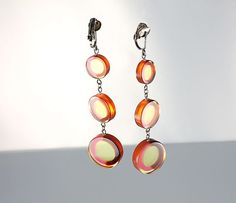 Mod lucite Earrings yellow brown red dangle circle by RMSjewels, $45.00