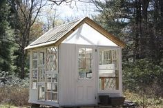 Every thought about how to house those extra items and de-clutter the garden? Building a shed is a popular solution for creating storage space outside the house. Whether you are thinking about having a go and building a shed yourself Greenhouse Kitchen, Outdoor Greenhouse, Cheap Greenhouse, Portable Greenhouse, Greenhouse Interiors, Backyard Greenhouse, Greenhouse Plans, Homemade Greenhouse, Old Window Greenhouse