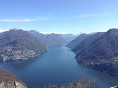 The Lake of Lugano from the San Salvatore Mountain of Paradiso , Switzerland