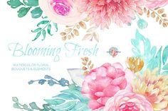 Blooming Fresh Watercolor Clipart by AurAandTheCat on @creativemarket