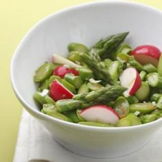 Asparagus & Radish Salad Recipe- asian dressing, so pair it with grilled shrimp and rice noodles!