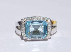 Natural Estate 5.31 ct Blue Topaz & Diamond by bluefirejewelry, $1490.00