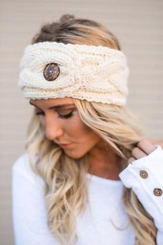 Buttoned Up Knitted Headband by Three Bird Nest