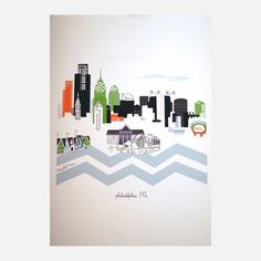 Philadelphia, $26, now featured on Fab.It's always sunny in this digitally rendered representation of the City of Brotherly Love. It encompasses the entire metropolis with playful minimalist depictions of famous landmarks like the Schuylkill River and Citizens Bank Park.  Albie Designs