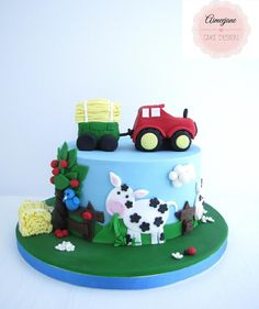 Congrats to the person who won the raffle for my cake! Tractor Birthday Cakes, Birthday Cupcakes, Tractor Cakes, Fondant Cakes, Cupcake Cakes, Cakes For Boys, Kid Cakes, Farm Cake, Horse Cake