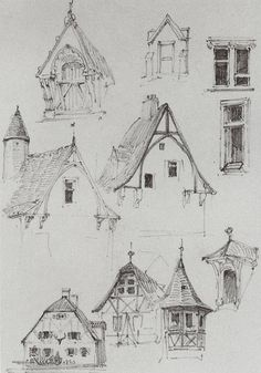 Beautiful and simple sketches of Bavarian type buildings.  Architectural sketches. From travelling in Germany. - Vasily Polenov: