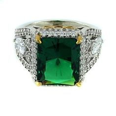 D/VVS1 2 Tone Sterling Silver 8.18Ct Emerald Radiant Cut Pave Pear Ring by JewelryHub on Opensky