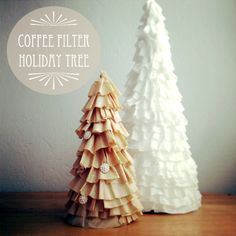 Coffee filter Christmas trees! I made one and even made the suggested scented sachets. SUUUPER easy craft. (I used a lightweight spray adhesive instead of hot glue since I didnt have any). Came out pretty darn cute.