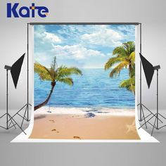 5x7 ft Kate Sea  Beach Holiday Photo Backgrounds Coconut Trees Children Photography Backdrops
