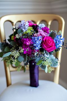 beautiful jewel tone bouquet with pinks, purples, and blues | Old South Studios #wedding