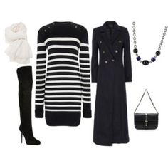 FW - DN - MINI SWEATER DRESS, SCARF, COAT, BOOTS - STRIPED BLACK & WHITE