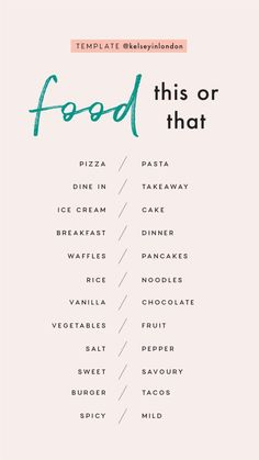 Story Templates – Food – Kelsey Heinrichs Story Templa… - Famous Last Words Snapchat Question Game, Snapchat Questions, Instagram Story Questions, Would You Rather Questions, Fun Questions To Ask, This Or That Questions, This Or That Game, About Me Questions, Getting To Know Someone