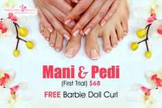 Having great looking nails is a good reason alone to have a regular manicure or pedicure. Try our Mani and Pedi for only $68 on your first trial and get a free Barbie Doll Curl . Mani and Pedi treatment will help prevent any nail disease's or nail disorder's. Prevention is much better than cure and with regular care you will not need to worry about conditions which can be painful and unsightly. ‎Institutcarebalance‬ ‪#‎Maniandpedi‬