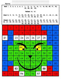 Celebrate Christmas with The Grinch! Directions: Color each square in the 100's chart according to the color code at the top to reveal a hidden picture !!