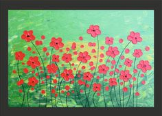 Red Flowers - Original modern impasto abstract art acrylic on canvas