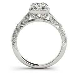 Engagement Ring -Vintage Style Halo Knife Edge Engagement Ring and... ($1,960) ❤ liked on Polyvore featuring jewelry, rings, diamond engagement rings, round diamond ring, vintage style wedding rings, engagement rings and round engagement rings
