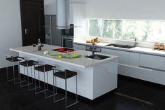 meubles de cuisine laqué blanc, tabourets hauts en métal et carrelage sol en noir