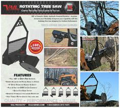 Introducing Vail Products X-Series Hydraulic Rotating Tree Saw! Featuring a full 180 degree fluid rotation, this tree saw possesses a unique combination of power and dexterity for effective and safe tree removal, and can easily cut thick diameter trees while being compact enough to allow for better handling and control in tight spaces.