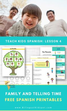 Spanish for Kids: Family Members & Telling Time in Spanish. A lesson with stories, free printables, games, songs, and more. Learn Spanish Free, Learning Spanish For Kids, Teaching Spanish, Teaching Kids, Preschool Spanish, Spanish Songs, Spanish Lessons, Spanish Games, Spanish Class