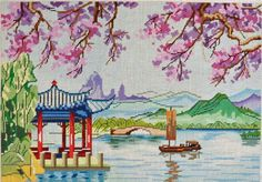 chinoiserie needlepoint scene