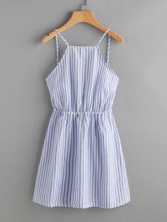 Полосатый вырезанный лук Галстук Открытое Назад Ками платье