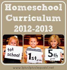 Homeschool Curriculum from 1+1+1=1 Blog