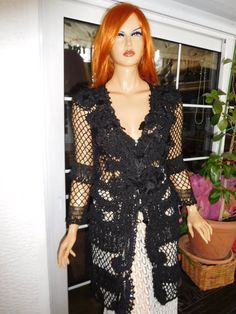 jacket black handmade crochet silk embroidered by GoldenYarn