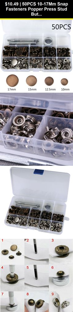 Snap Fasteners Kit for Clothing Jackets Jeans Bags Straps Sewing Projects Repair 201#17mm 50 Sets Mixed Press Stud Snap Buttons with Tool Silver+Bronze