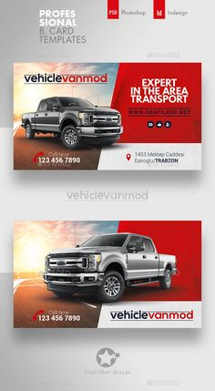 Commercial Vehicle Business Card Templates – Corporate Business Cards - My Design Ideas 2019 Corporate Business, Business Card Design, Business Templates, Make Business Cards, Printable Business Cards, Corporate Design, Creative Business, Car Advertising, Advertising Design