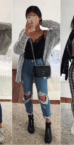 50 schöne Sommeroutfits, die Sie kaufen müssen – Outfit ideen – … 50 beautiful summer outfits you need to buy – Outfit ideas – buy to Stylish Winter Outfits, Cute Casual Outfits, Winter Fashion Outfits, Simple Outfits, Spring Outfits, College Winter Outfits, Chic Outfits, Outfit Winter, Grunge Outfits