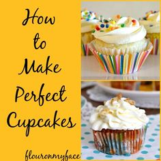 If you want to achieve that perfect cupcake look for a birthday party or other event this Summer, find out how to make the perfect cupcakes with beautiful icing! Cupcakes are one of the best desserts to make for parties! Baking Cupcakes, Yummy Cupcakes, Cupcake Recipes, Baking Recipes, Cookie Recipes, Cupcake Cakes, Dessert Recipes, Baking Tips, Cupcake Frosting