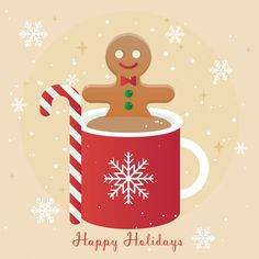 A gingerbread on a hot drink Free Vector