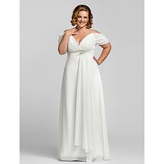 TS Couture Formal Evening / Prom / Military Ball Dress - Ivory Plus Sizes / Petite Sheath/Column Spaghetti Straps Floor-length Chiffon – USD $ 89.99