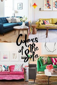 A Shopping Guide to Bright Beautiful Seating: Colors of the Sofa Colorful Couch, Colourful Lounge, Apartment Sofa, Apartment Therapy, Living Room Decor, Living Spaces, Living Rooms, Sofa Colors, Decoration