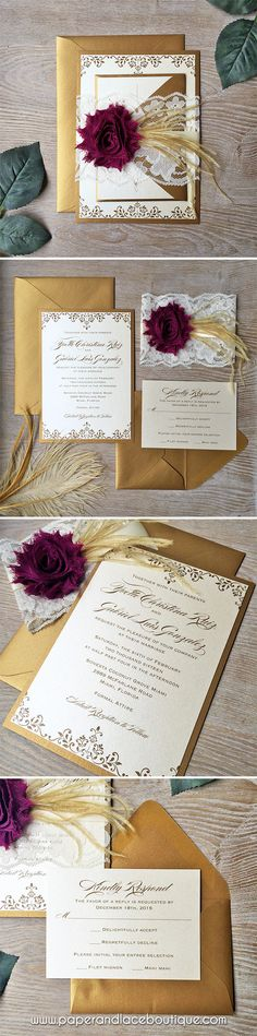 Gold and Ivory Lace Wedding Invitation with Plum Chiffon Flower and Gold Feathers