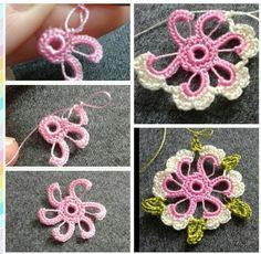 Crochet Flower Lace Making Crochet Motifs, Crochet Flower Patterns, Freeform Crochet, Irish Crochet, Crochet Designs, Crochet Flowers, Crochet Stitches, Knit Crochet, Crochet Crafts