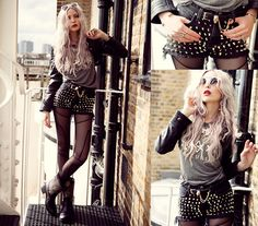 Romwe Leggins, Regal Rose Necklace, Once Youth Top, Coal N' Terry Vintage Studded Short, Romwe Belt, Back Stage* Ring, Back Stage* Bracelet, Back Stage* Bracelet, Back Stage* Ring, Soletruck Studded Boots, Tfnc London Short Cut Leather Jacket, Coal N' Ter