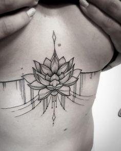 Lotus flower sternum tattoo by Sara Reichardt                                                                                                                                                     More
