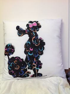 Hand Painted Pillow - POODLE by Debby Carman Faux Paw Productions by FauxPawProductions on Etsy